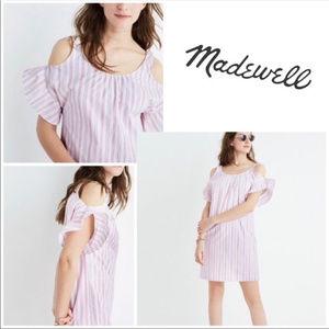 Madewell Rose Stripe Cold Shoulder Cotton Dress